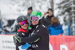Selina Joerg (GER), Natalia Soboleva (RUS), celebrates during Final Run at Parallel Giant Slalom at FIS Snowboard World Cup Rogla 2019, on January 19, 2019 at Course Jasa, Rogla, Slovenia. Photo byJurij Vodusek / Sportida