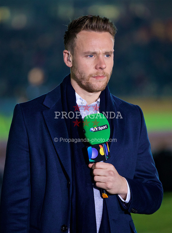 NEWPORT, WALES - Wednesday, December 21, 2016: Wales international Chris Gunter working for BT Sport as a pundit during the FA Cup 2nd Round Replay match between Newport County and Plymouth Argyle at Rodney Parade. (Pic by David Rawcliffe/Propaganda)