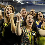 SNP supporters celebrate after a great night for her party at the Emirates Arena in Glasgow, Britain, 08 May. <br /> Britons are voting in a general election that will determine the UK's next Prime Minister.