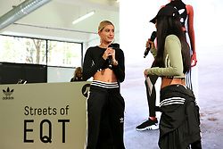 Hailey Baldwin during 'Streets of EQT', a street style presentation to celebrate Hailey Baldwin's new Adidas EQT campaign during London Fashion Week SS18 held at The Old Truman Brewery, London. Picture Date: Friday 15 September. Photo credit should read: Isabel Infantes/PA Wire