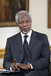 File photo dated 12/11/12 of Kofi Annan, speaking at the G8 Open for Growth - Trade, Tax and Transparency conference at Lancaster House, London. Annan, one of the world's most celebrated diplomats and a charismatic symbol of the United Nations who rose through its ranks to become the first black African secretary-general, has died.