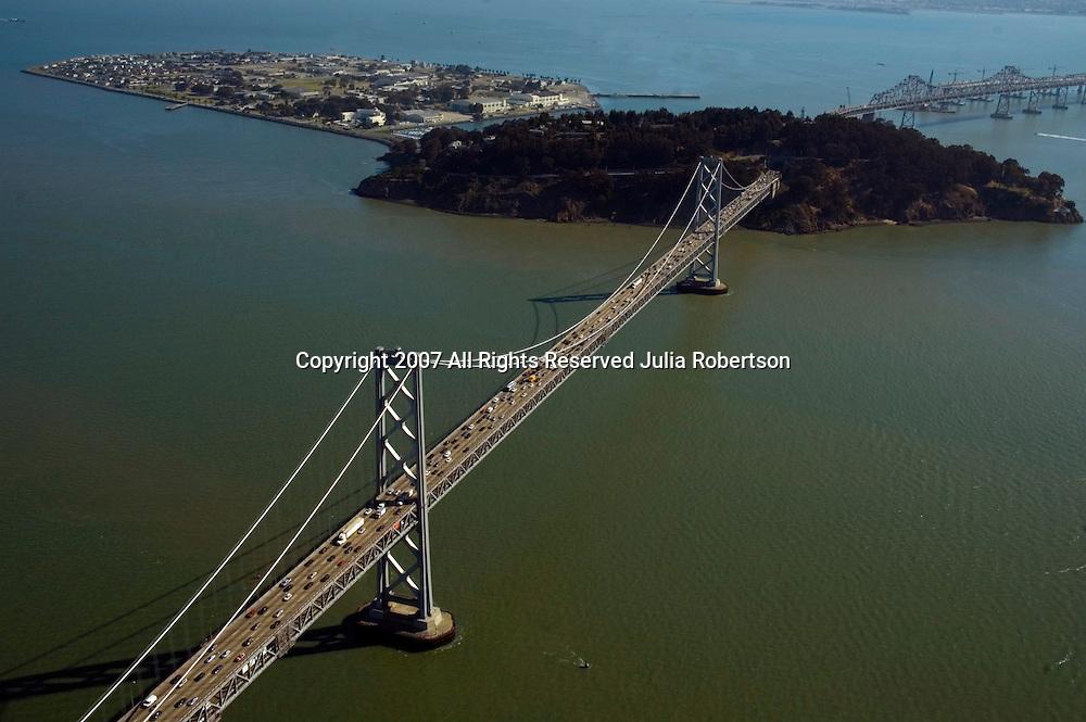 Aerial view of San Francisco Oakland Bay Bridge