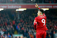 Roberto Firmino of Liverpool celebrates after scoring his teams 2nd goal with a wave to the dugout. . Premier League match, Liverpool v Huddersfield Town at the Anfield stadium in Liverpool, Merseyside on Saturday 28th October 2017.<br /> pic by Chris Stading, Andrew Orchard sports photography.