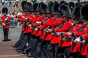 The Guards regiments and their bands return down the Mall - His Royal Highness the Duke of York reviews the final rehearsal for the Trooping the Colour on Horseguards Parade and the Mall.