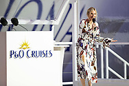 """Britain's largest and most environmentally-friendly cruise ship is named in a record-breaking virtual ceremony.<br /> <br /> Jo Whiley <br /> <br /> Britain's largest and most environmentally-friendly cruise ship, P&O Cruises Iona, has been officially named in a very contemporary ceremony with a record-breaking virtual audience.<br /> <br /> Iona, powered by liquefied natural gas, ground-breaking for the UK cruise industry and one of the cleanest fuels in the world, arrived for the first time into her home port of Southampton this morning ahead of tonight's official naming ceremony.<br /> <br /> The ship was officially named tonight by Dame Irene Hays, chair of Hays Travel, Britain's largest independent travel agency, in a glittering quayside ceremony by the bow of the ship. <br /> <br /> The event, held at sunset, was hosted by Jo Whiley and broadcast to a """"virtual"""" audience of over 25,000 guests. The highlight of the show was a rousing set from Iona's music director Gary Barlow performing two iconic Take That hits """"Greatest Day and """"Rule the World"""" against the backdrop of a spectacular laser show.<br /> <br /> A specially produced Nebuchadnezzar (equivalent to 20x 750ml bottles) of Alex James's Britpop cider smashed against the hull of the ship in spectacular style to bring it good fortune in the future.  <br /> There was also a special performance by The Commonwealth Youth Orchestra and Choir and Mica Paris singing Believe, a song which was composed by Simon Haw MBE and was dedicated to Her Majesty The Queen, head of the Commonwealth, for its 70th anniversary in 2019.<br /> <br /> Picture date Sunday 16th May, 2021.<br /> Picture by James Robinson. Contact +447544 044177 chris@christopherison.com<br /> <br /> For further press information please contact: <br /> Michele Andjel, michele.andjel@carnivalukgroup.com 023 8065 6653 / 07730 732 072<br /> Laura Tattam, laura.tattam@pocruises.com 02380 656651 / 07771 283 845<br /> Jenny Hadley, jenny.hadley@pocruises.com  """