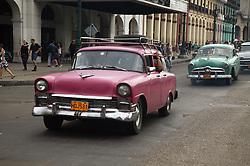 Old American cars in Havana street,