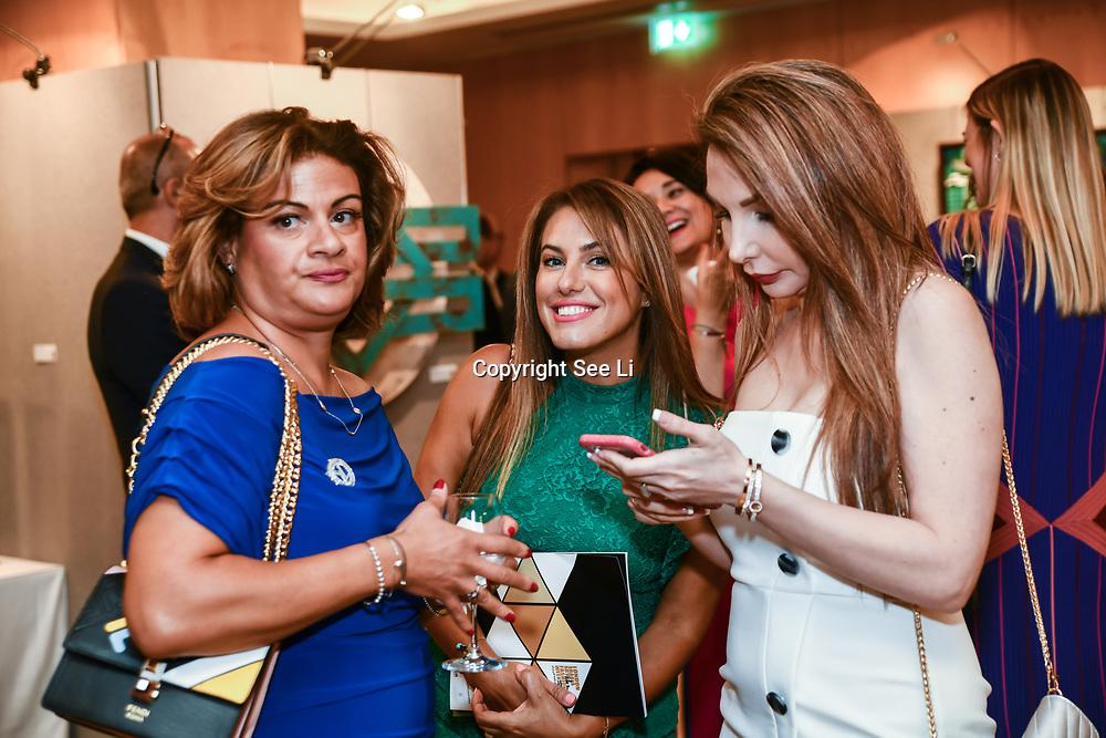 Marie Dawlatly, Christine Artwork and Mariam Michtawi attend the London Arabia Art & Fashion Week 2019 at Jumeirah Carlton Tower, on 5 August 2019, London, UK.