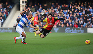 Queens Park Rangers midfielder, Karl Henry (20) with a strong tackling on Birmingham City midfielder, Jon Toral (20) during the Sky Bet Championship match between Queens Park Rangers and Birmingham City at the Loftus Road Stadium, London, England on 27 February 2016. Photo by Matthew Redman.