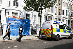 © Licensed to London News Pictures. 24/08/2019. London, UK. Police Officers in Notting Hill area ahead of the 2019 Notting Hill Carnival which takes place this weekend and on bank holiday Monday. Up to 1 million people are expected to attend the biggest street party in Europe. Photo credit: Dinendra Haria/LNP