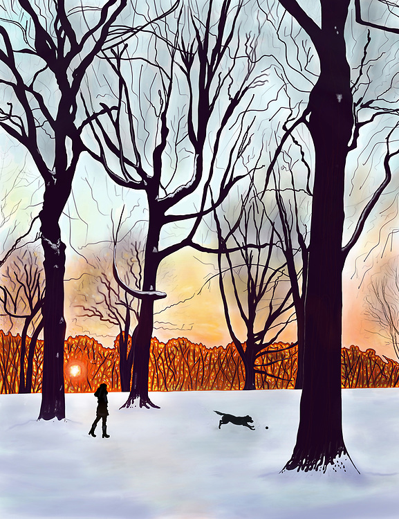 A woman walks her dog in a snowy Prospect park, Brooklyn at sunrise.
