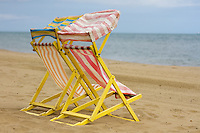 Empty deck-chairs, holidays on the Isle of Wight