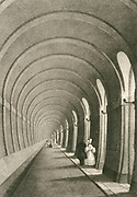 'View of one arch of the Thames tunnel linking Rotherhithe and Wapping. Begun in 1825 by Marc Isambard Brunel, it is now part of the London Underground Railway system. Engraving c1840.'