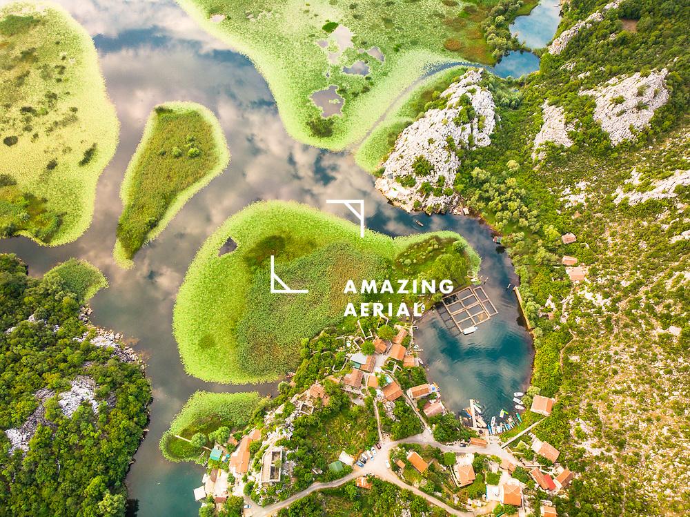 An aerial view of fishing village Karuc, Lake Skadar, Montenegro