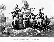 The landing of Columbus at San Salvador, October 12, 1492. Columbus standing in bow of boat holding Spanish flag. lithograph. New York : Published by Currier & Ives, c1876.Christopher Columbus (unknown; before 31 October 1451 – 20 May 1506) was an explorer, colonizer, and navigator, born in the Republic of Genoa, in what is today northwestern Italy.[2][3][4][5] Under the auspices of the Catholic Monarchs of Spain, he completed four voyages across the Atlantic Ocean that led to general European awareness of the American continents in the Western Hemisphere
