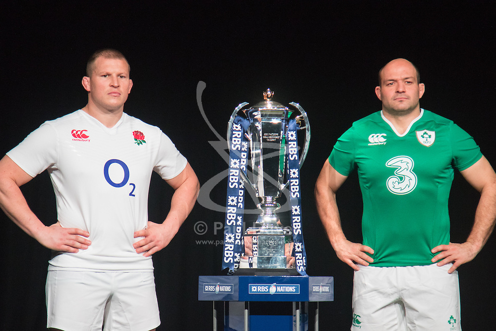 Hurlingham Club, London, January 27th 2016. England Captain Dylan Hartley and Ireland Captain Rory Best at the launch of the RBS Six Nations Rugby Tornament. ///FOR LICENCING CONTACT: paul@pauldaveycreative.co.uk TEL:+44 (0) 7966 016 296 or +44 (0) 20 8969 6875. ©2015 Paul R Davey. All rights reserved.