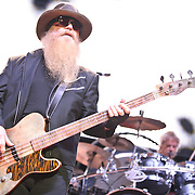 """COLUMBIA, MD - October 6th, 2012 - Dusty Hill and Frank Beard of ZZ Top perform at the 2012 Virgin Mobile FreeFest in Columbia, MD. The band played new material from their recently released album La Futura, as well as old hits such as """"Legs"""" and """"Gimme All Your Lovin."""" (Photo by Kyle Gustafson / For The Washington Post)"""