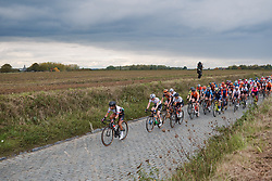 Anouska Koster (NED) leads the bunchg at the 2020 Ronde van Vlaanderen - Elite Women, a 135.6 km road race starting and finishing in Oudenaarde, Belgium on October 18, 2020. Photo by Sean Robinson/velofocus.com