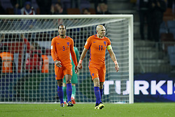 (L-R) Virgil van Dijk of Holland, Arjen Robben of Holland during the FIFA World Cup 2018 qualifying match between Belarus and Netherlands on October 07, 2017 at Borisov Arena in Borisov,  Belarus