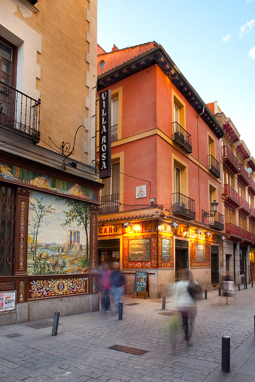 Madrid, Spain - Small alley at Downtown with typical Spanish architecture.