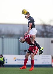 Falkirk's Peter Grant over Ayr United's Gary Harkins. Falkirk 1 v 1 Ayr United, Scottish Championship game played 14/1/2017at The Falkirk Stadium .