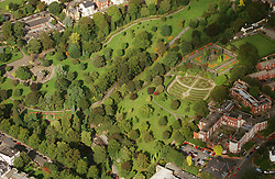 Aerial view of The Arboretum in Nottingham,  The building to the right is the former Maternity Hospital; now converted to flats, The statue with the coloured border around it is a memorial to the Crimean War,