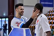 DESCRIZIONE : Beko Legabasket Serie A 2015- 2016 Dinamo Banco di Sardegna Sassari - Manital Auxilium Torino<br /> GIOCATORE : Brian Sacchetti Christian Eyenga<br /> CATEGORIA : Fair Play Before Pregame<br /> SQUADRA : Dinamo Banco di Sardegna Sassari<br /> EVENTO : Beko Legabasket Serie A 2015-2016<br /> GARA : Dinamo Banco di Sardegna Sassari - Manital Auxilium Torino<br /> DATA : 10/04/2016<br /> SPORT : Pallacanestro <br /> AUTORE : Agenzia Ciamillo-Castoria/L.Canu