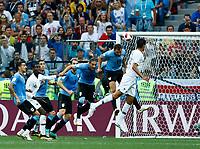 Raphael Varane (France) scores the goal of 1-0<br /> Nizhny Novgorod 06-07-2018 Football FIFA World Cup Russia  2018 Uruguay - France / Uruguay - Francia <br /> Foto Matteo Ciambelli/Insidefoto
