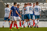 Russia celebrate their 3rd goal of the game from Egor Shapovalov during the U17 European Championships match between Scotland and Russia at Simple Digital Arena, Paisley, Scotland on 23 March 2019.