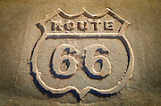Route 66 historic sign, Petrified Forest National Park, Arizona USA
