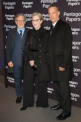 Steven Spielberg, Meryl Streep and Tom Hanks attends the 'Pentagon Papers' Paris film premiere at UGC Normandie cinema on January 14, 2018 in Paris, France. Photo by Nasser Berzane/ABACAPRESS.COM