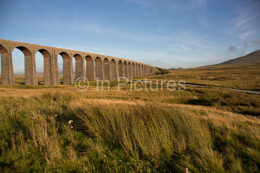 Ribblehead Viaduct or Batty Moss Viaduct carries the Settle-Carlisle Railway across valley of the River Ribble at Ribblehead, in North Yorkshire Dales, England, UK. This impressive Victorian architectural wonder was designed by engineer, John Sydney Crossley and was built between 1870 and 1874.