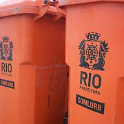 Garbage bins on the beach at  Copacabana, Rio de Janeiro,  Brazil. 16th July 2010. Photo Tim Clayton..
