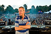 Fatboy Slim pretending to look bored during a concert at the H2O water-park in Johannesburg, South Africa, 2007.