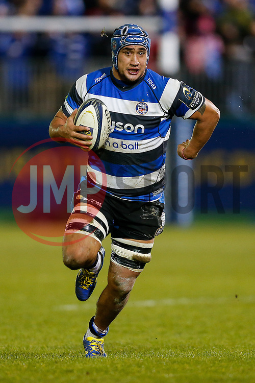 Bath Number 8 Leroy Houston in action - Photo mandatory by-line: Rogan Thomson/JMP - 07966 386802 - 12/12/2014 - SPORT - RUGBY UNION - Bath, England - The Recreation Ground - Bath Rugby v Montpellier Herault Rugby - European Rugby Champions Cup Pool 4.