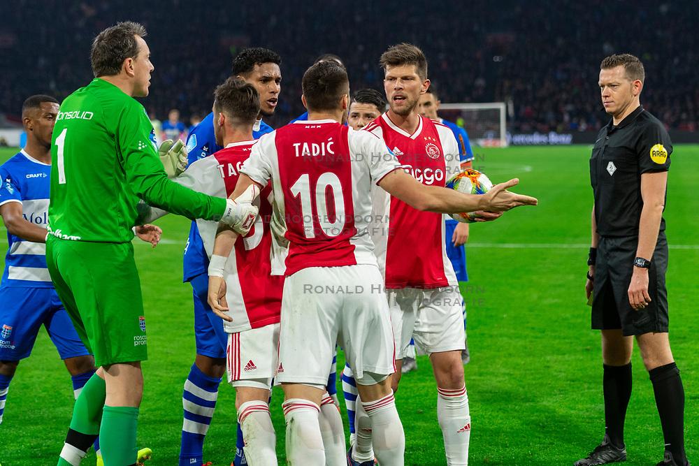 13-03-2019 NED: Ajax - PEC Zwolle, Amsterdam<br /> Ajax has booked an oppressive victory over PEC Zwolle without entertaining the public 2-1 / Darryl Lachman #29 of PEC Zwolle, Dusan Tadic #10 of Ajax, Diederik Boer #1 of PEC Zwolle, Nicolas Tagliafico #31 of Ajax, Klaas Jan Huntelaar #9 of Ajax