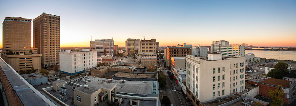 The view from the roof of the Commerce Building. Located on the corner of Laurel and Third Street in downtown Baton Rouge, La., the commercial property recently changed owners. 5th Floor Company plans to renovate the 1950's structure into a residential, retail and office space development.