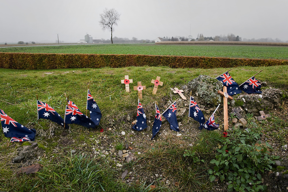 Australian flags mark the spot where thousands of Australians were killed and wounded whilst attempting to capture the old windmill that the German army converted to a fortified machine-gun post. Four Australian divisions fought from the 23rd of July to the 5th of September 1916. The Battle of Pozières was a two week struggle (23 July – 7 August 1916) by British and Australian divisions for the capture of the village of Pozieres during  the 1916 battle of the Somme.