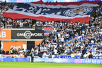 Football - 2018 / 2019 Premier League - Cardiff City vs. Leicester City<br /> <br /> Leicester fans with flag tribute in Leicster's 1st match since the death of Vichai Srivaddhanaprabha, at Cardiff City Stadium.<br /> <br /> COLORSPORT/WINSTON BYNORTH
