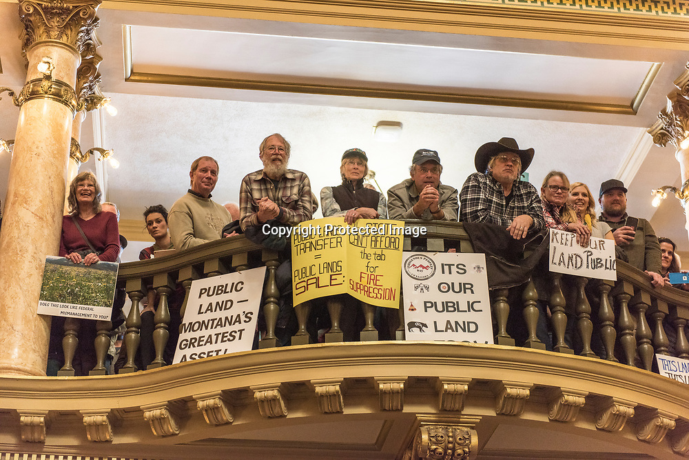 A a rally in support federal public lands at the State Capital in Helena, Montana 01-30-2017. Various conservation groups including hunters, anglers, hikers, and horseman gathered to protest the idea of the federal government  transferring public lands to the states or selling them off to private individuals or companies.