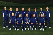 The European Team, from left to the right, Stand up : Henrik Stenson, Tommy Fleetwood, Paul Casey, Tyrell Hatton, Thorbjorn Olesen, Francesco Molinari, Alexander Noren, Justin Rose, Seated : Jon Rahm, Rory Mc Ilroy, Thomas Bjorn (Captain), Sergio Garcia, Ian Poulter,<br /> during the Ryder Cup 2018, at Golf National in Saint-Quentin-en-Yvelines, France, September 25, 2018 - Photo Pool / KMSP / ProSportsImages / DPPI