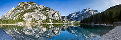 Lake di Braies panorama reflection ,  Lago  Braies is the largest natural Lake in the Dolomite Alps. I shot this on a scouting trip planning to return for sunrise, after shooting this I figured I did not have to.<br /> <br /> Contact me directly for large sizes.