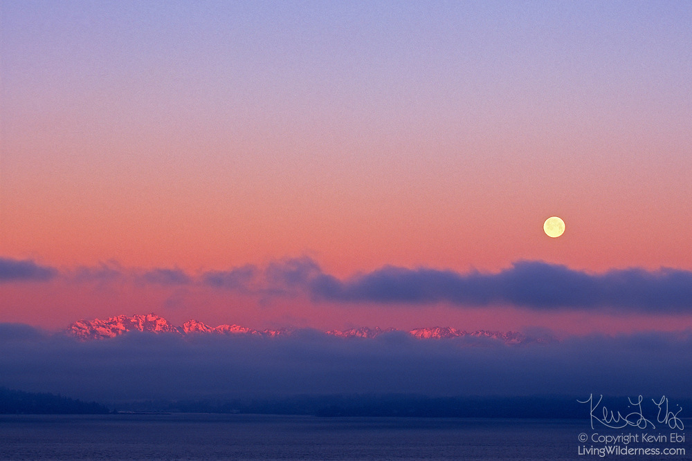 Mount Constance, far left, and neighboring peaks in the Olympic Mountains of Washington state are visible between a layer of low clouds and fog. Mount Constance has an elevation of 7,756 feet (2,364 meters). The full moon is beginning to set behind the clouds in this view from Seattle.