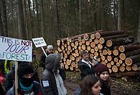 Postolowo, Puszcza Bialowieska, 30.12.2017. Zimowy Spacer Obywatelski w Puszczy . Akcja zostala zorganizowana po tym , jak Nadlesnictwo Hajnowka zamknelo dla turystow kolejne obszary lesne . Protestujacy uwazaja , ze przyczyni sie do zmniejszenia zainteresowania Puszcza turystow a tym samym po raz kolejny oslabi branze turystyczna w regionie Puszczy Bialowieskiej N/z uczestnicy marszu , w tle sciete drewno przygotowane do wywozki fot Michal Kosc / AGENCJA WSCHOD