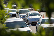 Commuters sit in morning traffic on Dixon Landing Road caused by construction of the VTA/BART Project Corridor in Milpitas, California, on June 10, 2014. Milpitas plans to close Dixon Landing Road for eight months to remove traffic congestion and allow better construction progress. (Stan Olszewski/SOSKIphoto)