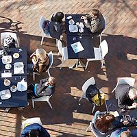 Café patrons from above, Mends St precinct