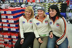 Nina Katarina Mihovilovic, Ana Drev and Katja Jazbec at press conference of Slovenian men and women alpine skiing national team before new season 2008/2009 in Hervis, City park, BTC, Ljubljana, Slovenia, on October 20, 2008.  (Photo by: Vid Ponikvar / Sportal Images).