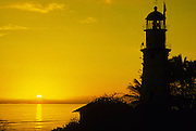 Sunset, Diamond Head Lighthouse, Waikiki, Oahu, Hawaii<br />