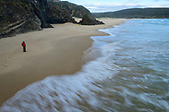 Oceania, Australia; Australian; Tasmania; Bruny Island Neck Game Reserve, Beach, woman hiker on beach from above