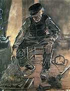 Old Man Kindling Wood' 1881. Mixed Media.  Vincent Van Gogh (1853-1890) Dutch Post-Impressionist artist.  Domestic Interior Fire Kettle Warmth