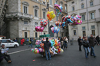 Balloons for sale at a Christmas market in Rome Italy